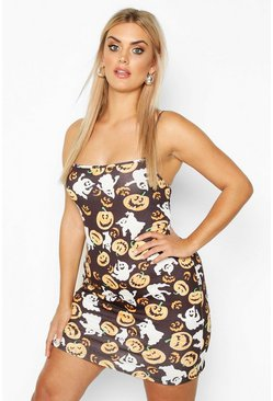 Black Plus Pumpkin Print Strappy Bodycon Dress