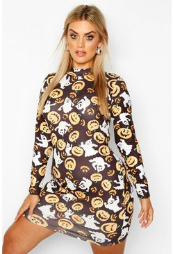 Black Plus Pumpkin Print High Neck Long Sleeve Bodycon Dress