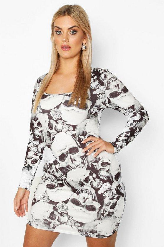 Plus Skeleton Square Neck Bodycon Dress