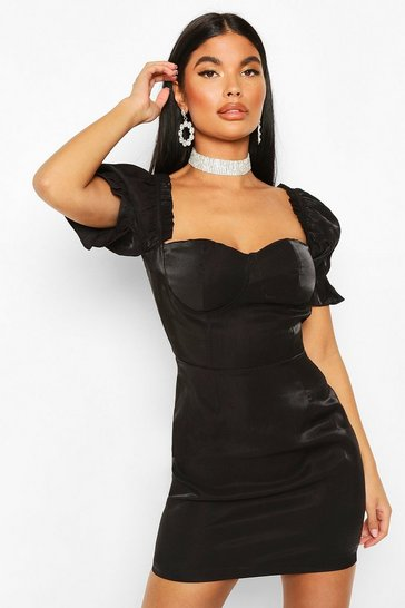 Black Petite Cup Detail Puff Sleeve Dress