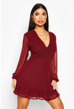 Petite Dobby Mesh Plunge Bodycon Dress, Berry