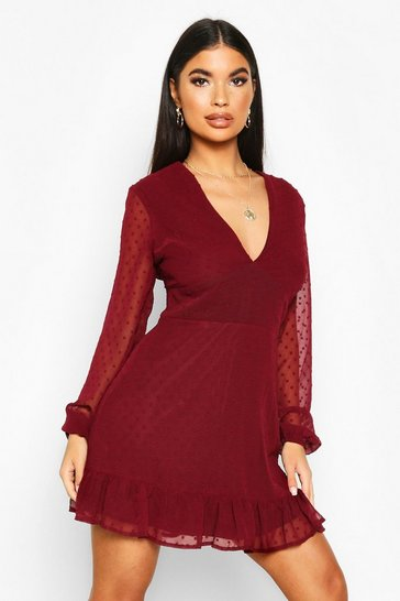 Berry Petite Dobby Mesh Plunge Bodycon Dress
