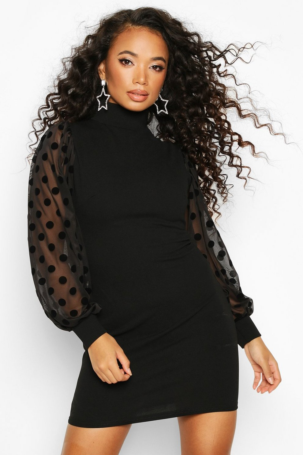 petite high neck spot mesh sleeve bodycon dress | boohoo