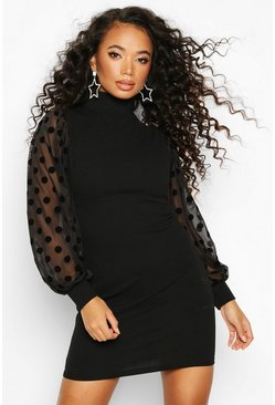 Womens Black Petite High Neck Spot Mesh Sleeve Bodycon Dress