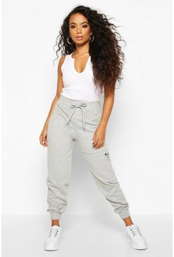Womens Grey Petite Pocket Detail Loopback Joggers