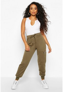 Womens Khaki Petite Pocket Detail Loopback Joggers