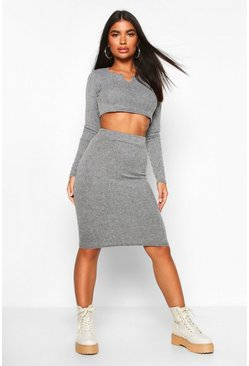 Womens Grey Petite Knitted Rib Notch Detail Top & Skirt Co-Ord