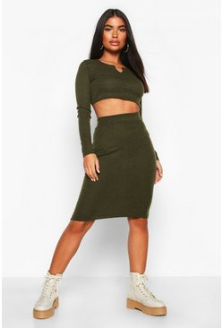 Khaki Petite Knitted Rib Notch Detail Top & Skirt Co-Ord