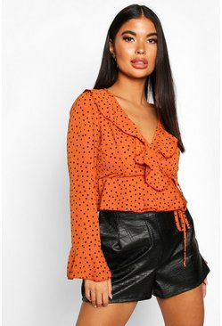 Womens Rust Petite Polka Dot Ruffle Wrap Top