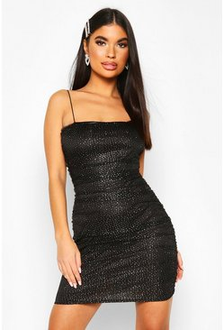 Womens Black Petite Ruched Glitter Mesh Bodycon Dress