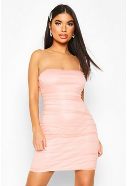 Petite Ruched Glitter Mesh Bodycon Dress, Pink