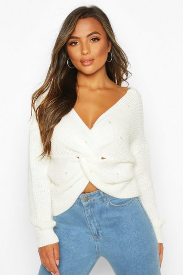 Ivory Petite Pearl Detail Twist Front Jumper
