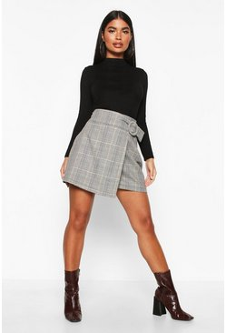 Petite Check Buckle Detail Wrap Front Skirt, Grey, DAMEN
