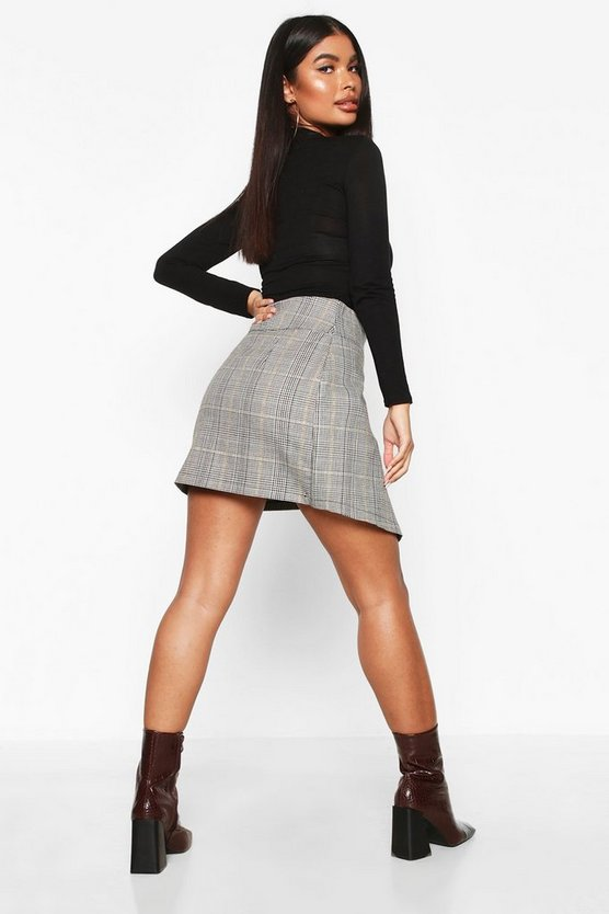 Petite Check Buckle Detail Wrap Front Skirt