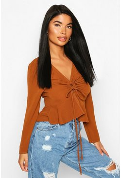 Womens Rust Petite Ruched Detail Woven Top