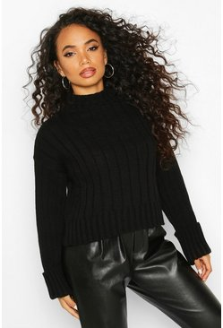 Womens Black Petite Roll Neck Chunky Extreme Turn Up Cuff Jumper