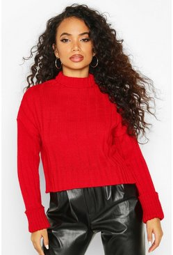 Petite Roll Neck Chunky Extreme Turn Up Cuff Jumper, Red, DAMEN