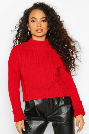 Womens Red Petite Roll Neck Chunky Extreme Turn Up Cuff Jumper