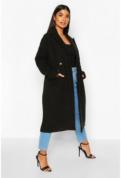 Womens Black Petite Pocket Detail Wool Look Coat