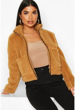 Womens Camel Petite Teddy Faux Fur Bomber