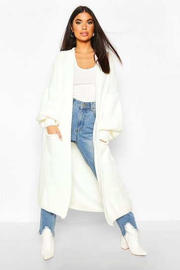 Womens Cream Petite Longline Balloon Sleeve Knitted Cardigan