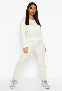 Womens Cream Petite Cable Knit Jumper & Jogger Co-Ord