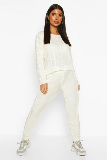 Cream Petite Cable Knit Jumper & Jogger Co-Ord