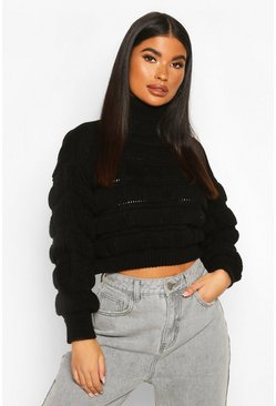 Womens Black Petite Bubble Knit Roll Neck Jumper