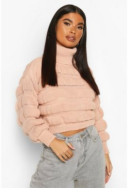 Petite Bubble Knit Roll Neck Jumper, Blush