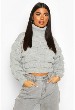 Petite Bubble Knit Roll Neck Jumper, Grey, Femme