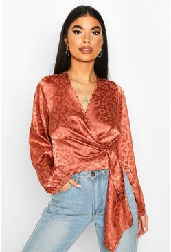 Womens Dusty rose Petite Satin Leopard Jacquard Wrap Top