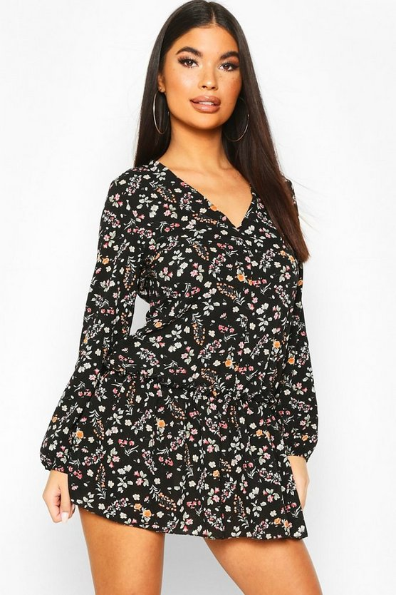 Womens Black Petite Ditsy Floral Woven Smock Dress