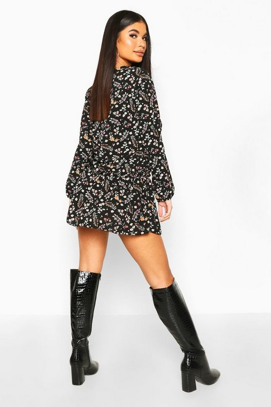 Petite Ditsy Floral Woven Smock Dress