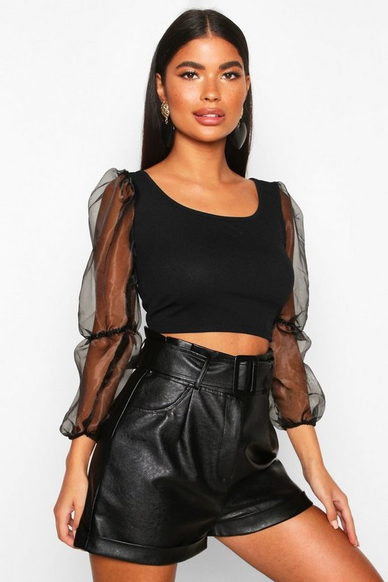 Black Petite Organza Volume Sleeve Crop Top