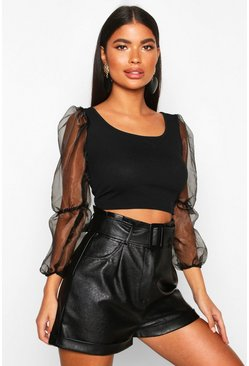 Womens Black Petite Organza Volume Sleeve Crop Top