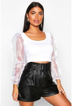 White Petite Organza Volume Sleeve Crop Top