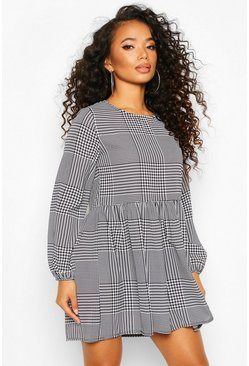 Petite Dogtooth Check Smock Dress, Black, DAMEN