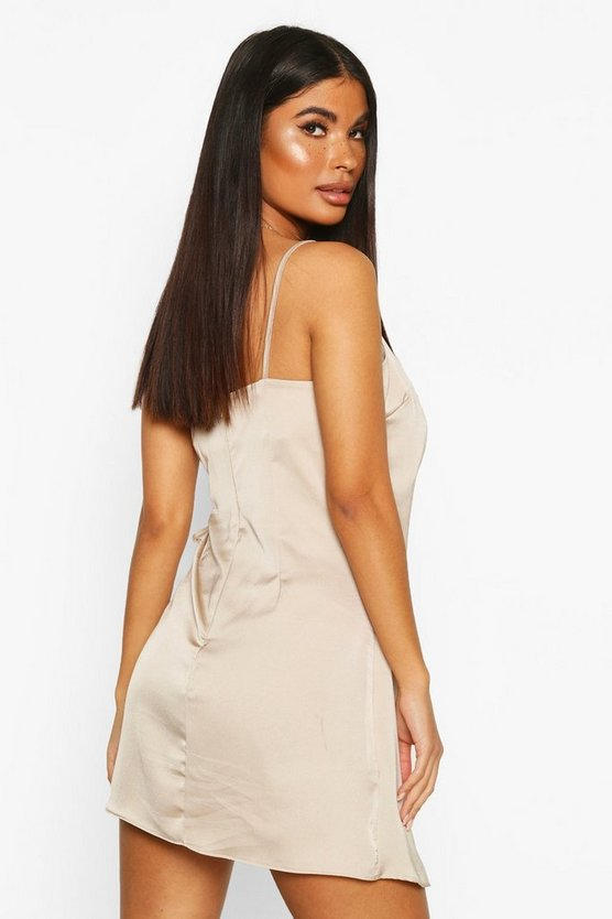 Petite Satin Wrap Mini Dress