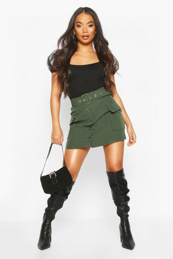 Womens Khaki Petite Utility Belted Mini Skirt