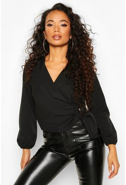 Womens Black Petite Wrap Front Buckle Detail Blouse