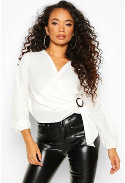 Ivory Petite Wrap Front Buckle Detail Blouse