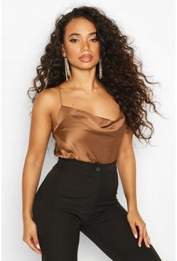 Womens Rust Petite Satin Cowl Neck Bodysuit