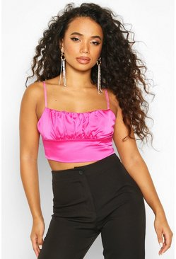 Womens Hot pink Petite Satin Ruched Detail Crop Top