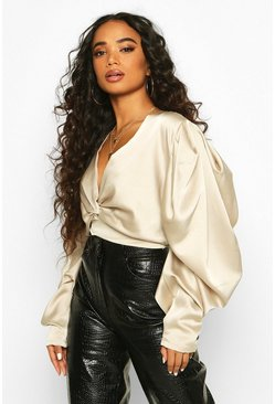 Champagne Petite Volume Sleeve Twist Front Satin Top