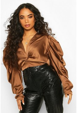 Petite Volume Sleeve Twist Front Satin Top, Rust, MUJER