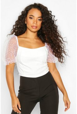 Womens White Petite Dobby Mesh Square Neck Crop Top