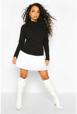 Black Petite Double Layer Sweat & Shirt Dress