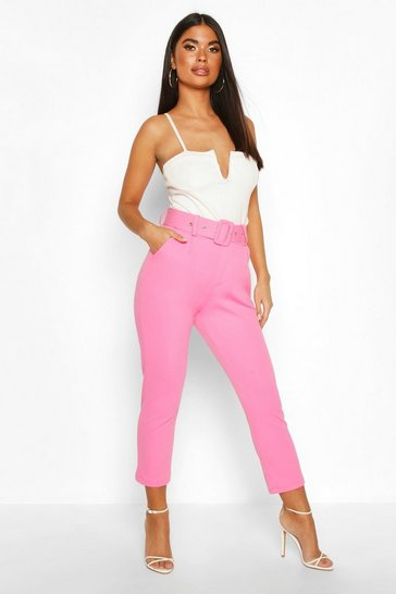 Womens Pink Petite Self Belted Tailored Trousers