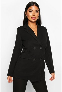 Petite Longline Double Breasted Blazer, Black, DAMEN