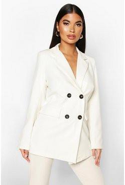 Ivory Petite Longline Double Breasted Blazer